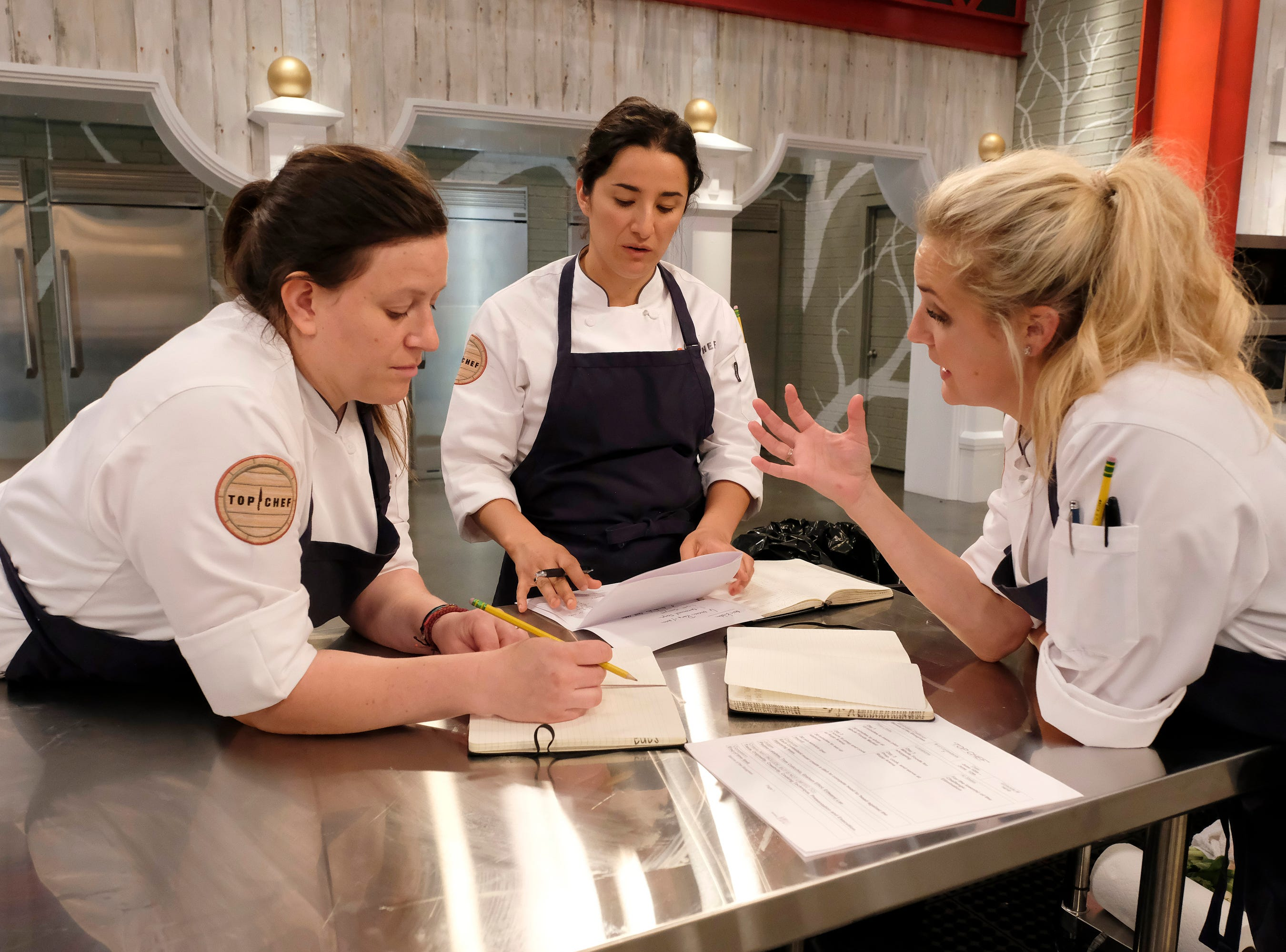 (From left to right): Contestants Sara Bradley, Michelle Minori and Kelsey Barnard on episode 10 of Bravo's 'Top Chef: Kentucky' season.