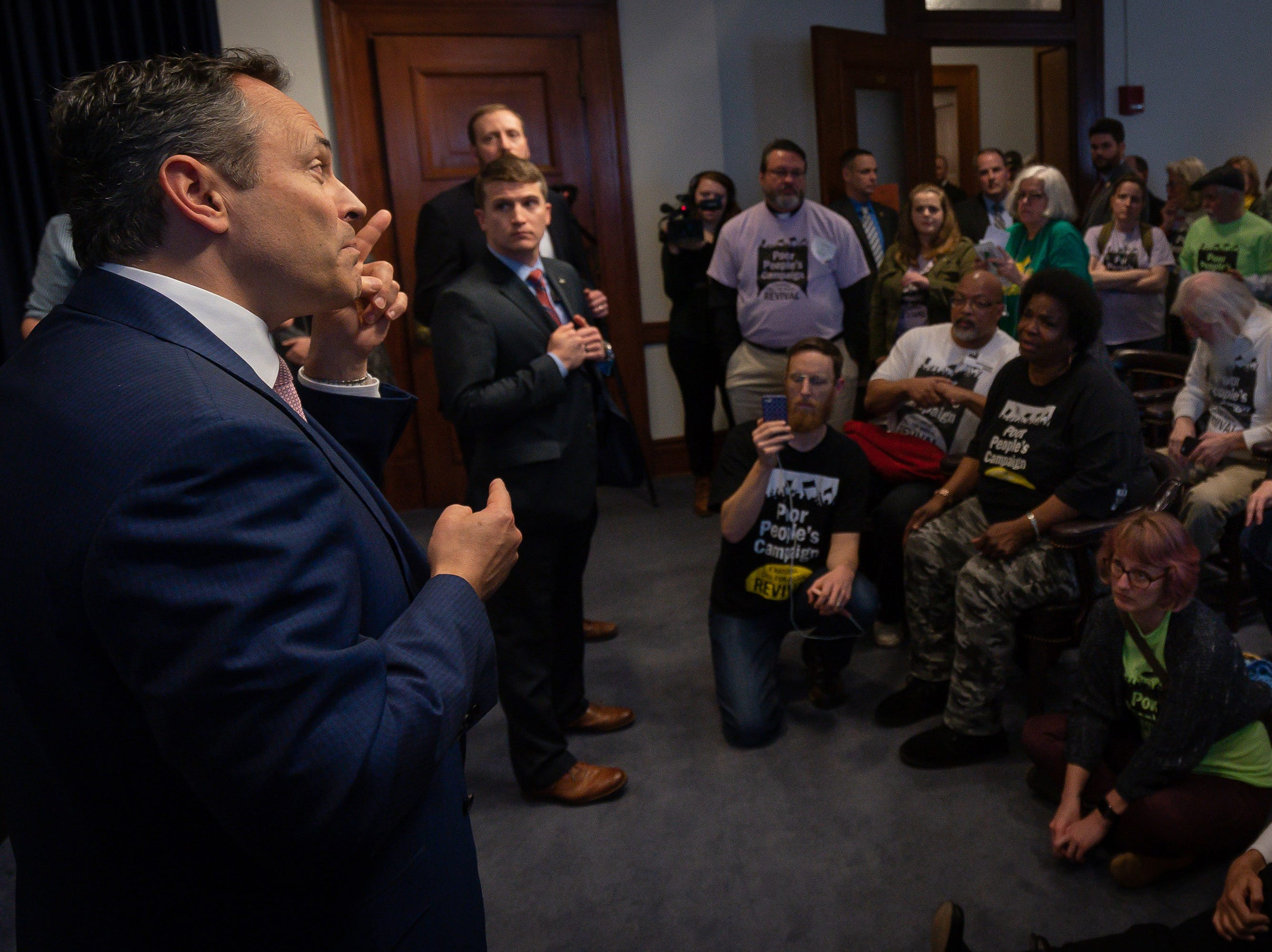 Gov. Matt Bevin meets with members of the Kentucky Poor People's Campaign at the Capital building in Frankfort, Ky, Tuesday, Feb. 5, 2018