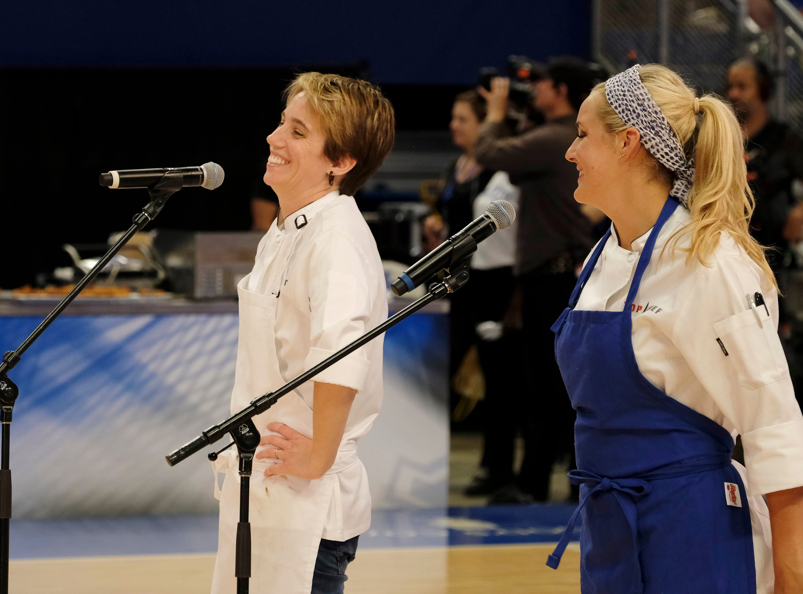 (From left to right): Contestants Adrienne Wright and Kelsey Barnard on episode 10 of Bravo's 'Top Chef: Kentucky' season.