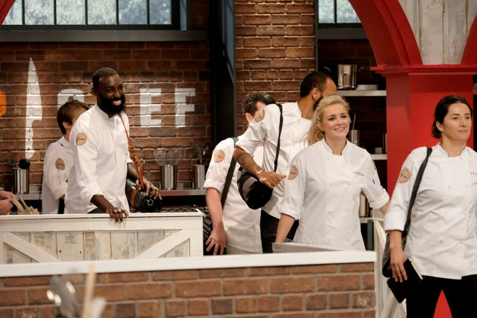 (From left to right): Contestants Eric Adjepong, Kelsey Barnard and Michelle Minori enter the kitchen on episode 10 of Bravo's 'Top Chef: Kentucky' season.