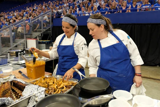 (From left to right): Contestants Michelle Minori and Sara Bradley on episode 10 of Bravo's 'Top Chef: Kentucky' season.