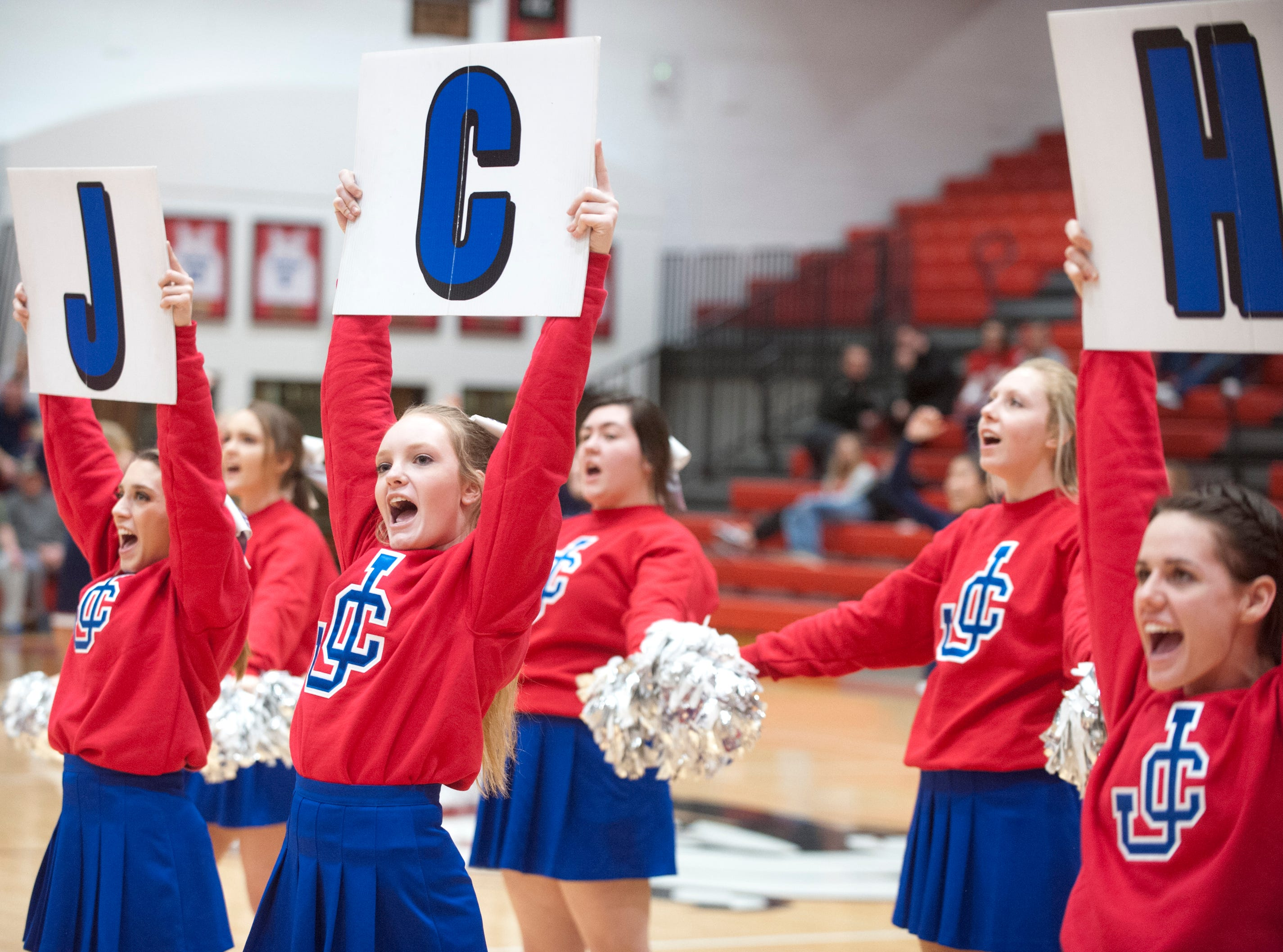 Jennings County cheerleaders root for their team.04 February 2019