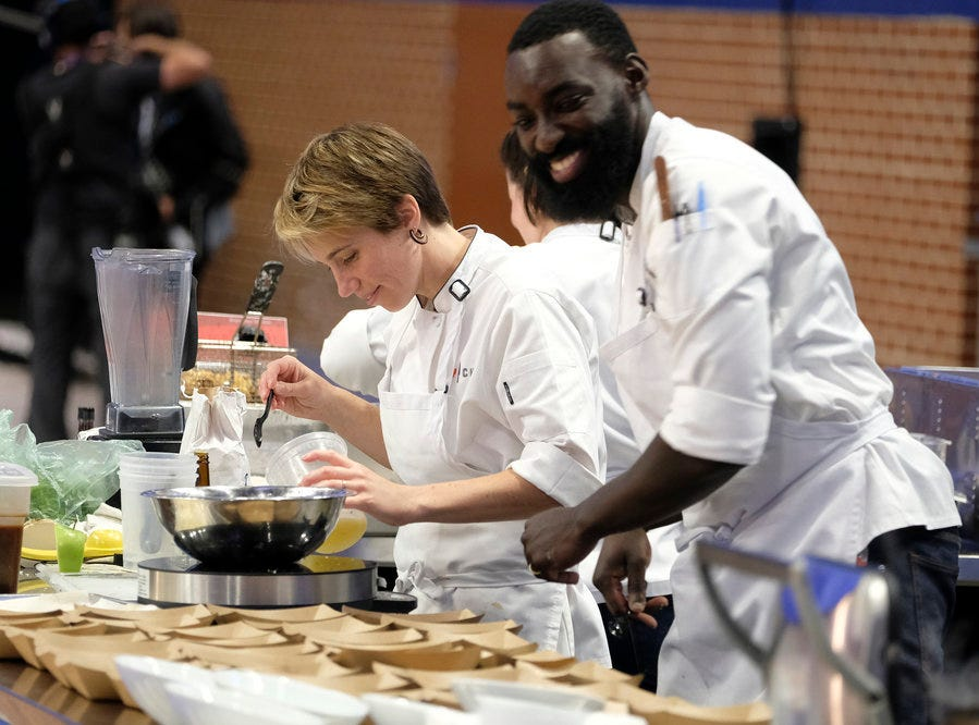 (From left to right): Contestants  Adrienne Wright and Eric Adjepong on episode 10 of Bravo's 'Top Chef: Kentucky' season.