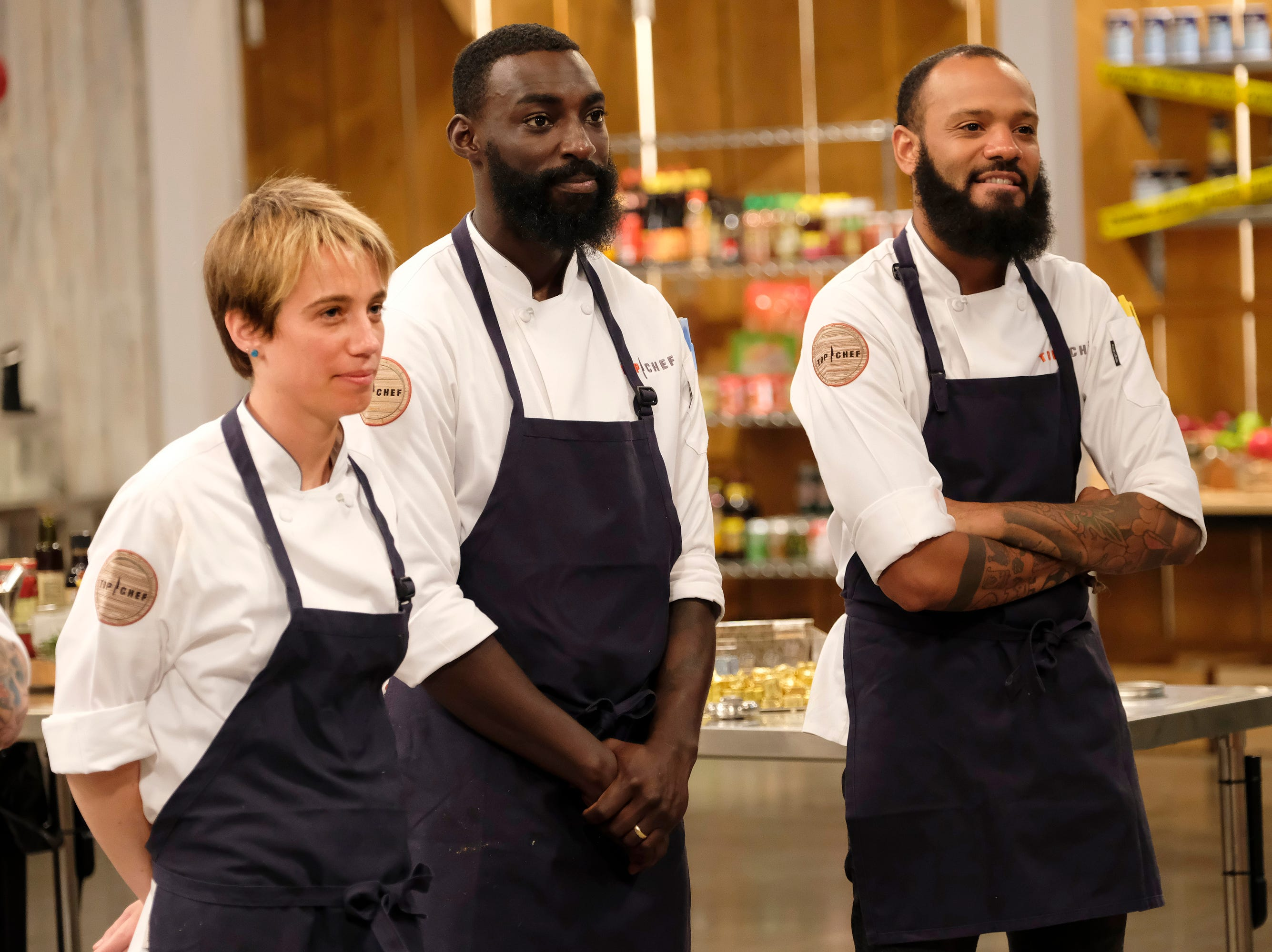 (From left to right): Contestants Adrienne Wright, Eric Adjepong and  Justin Sutherland on episode 10 of Bravo's 'Top Chef: Kentucky' season.