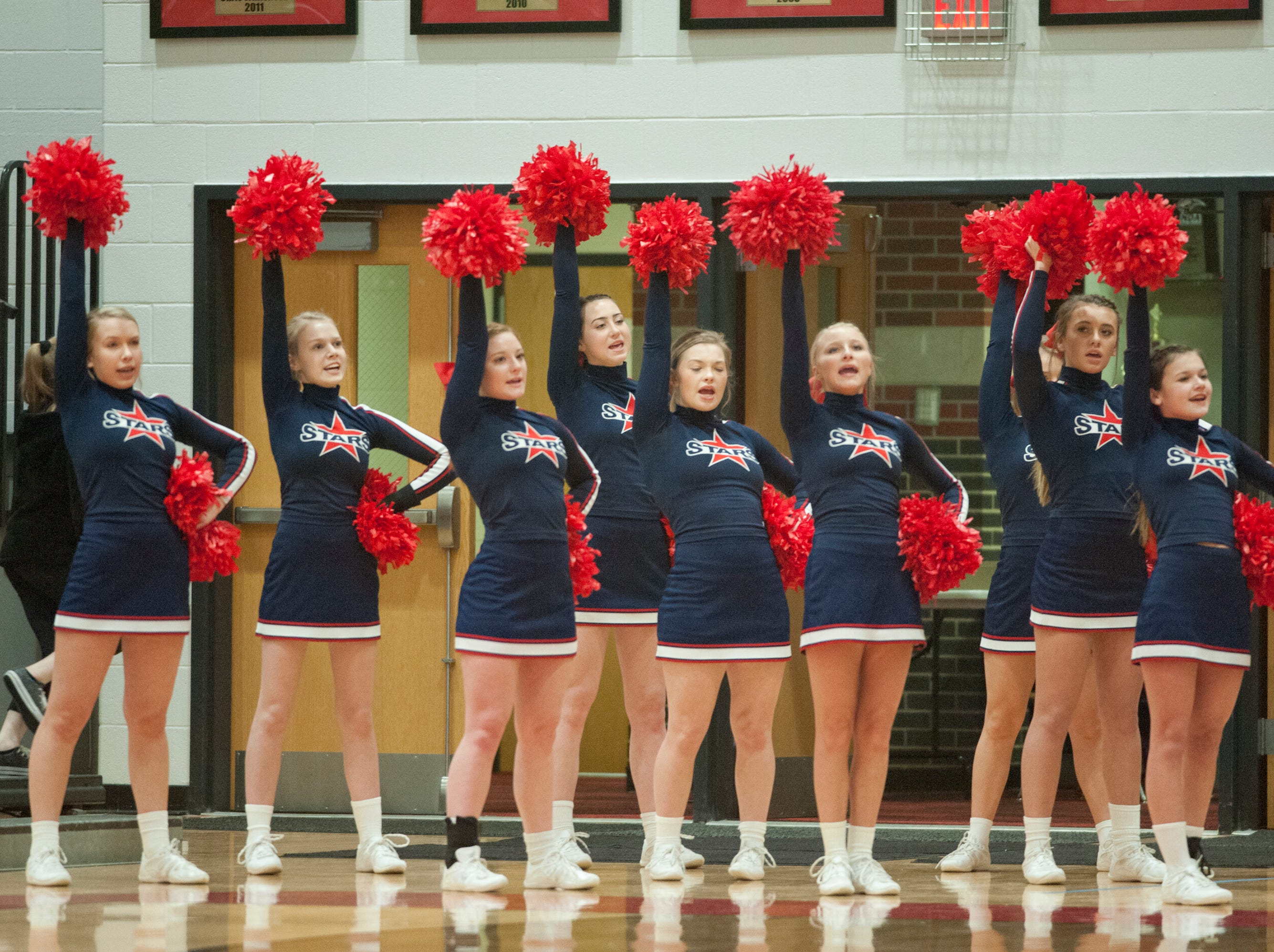 Bedford North Lawrence cheerleaders root for their team.03 February 2019
