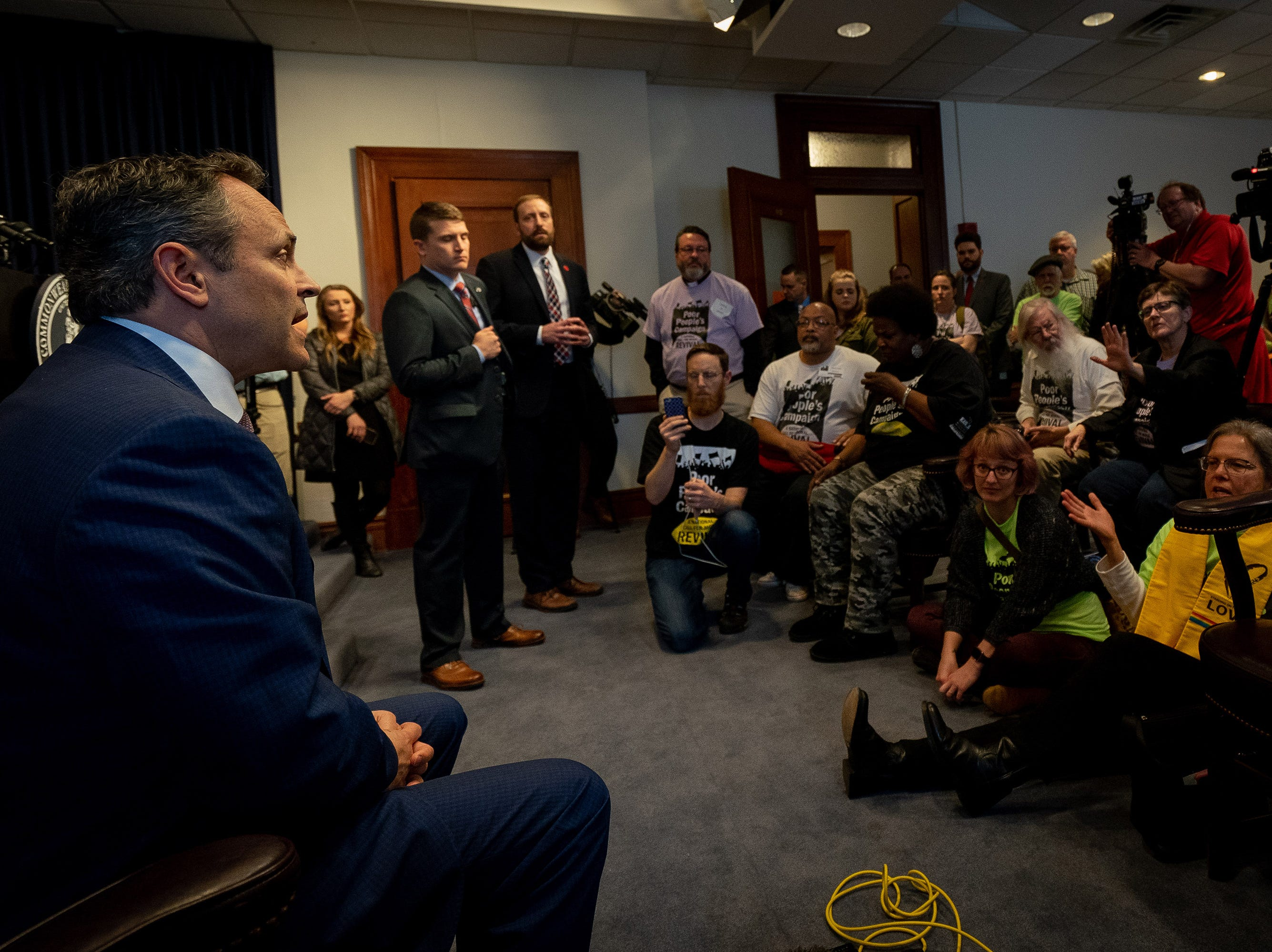 Gov. Matt Bevin meets with members of the Kentucky Poor People's Campaign at the Capitol building in Frankfort, Ky, Tuesday, Feb. 5, 2018