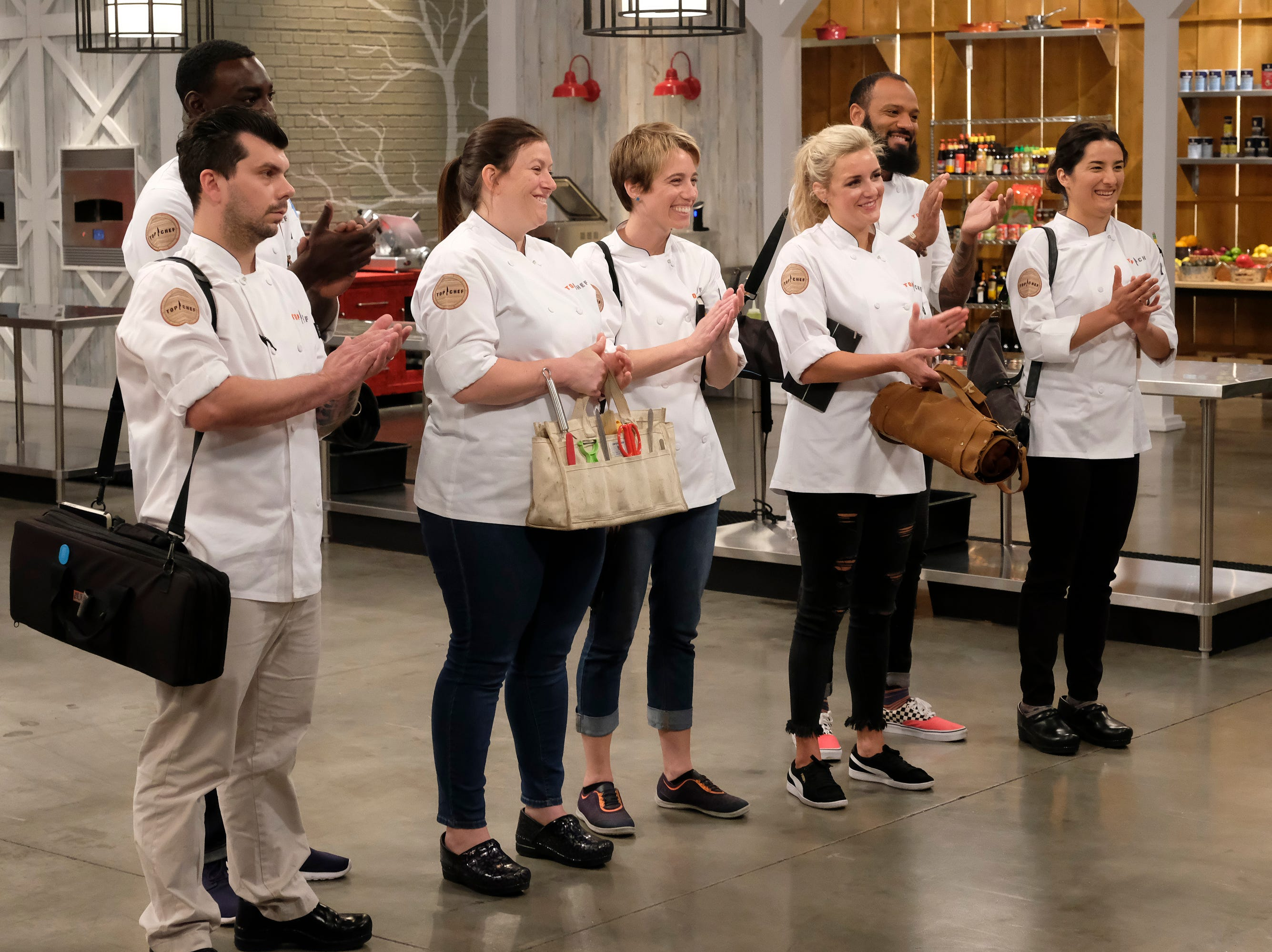 (From left to right): Contestants Eddie Konrad, Eric Adjepong, Sara Bradley, Adrienne Wright, Justin Sutherland and Michelle Minor on episode 10 of Bravo's 'Top Chef: Kentucky' season.