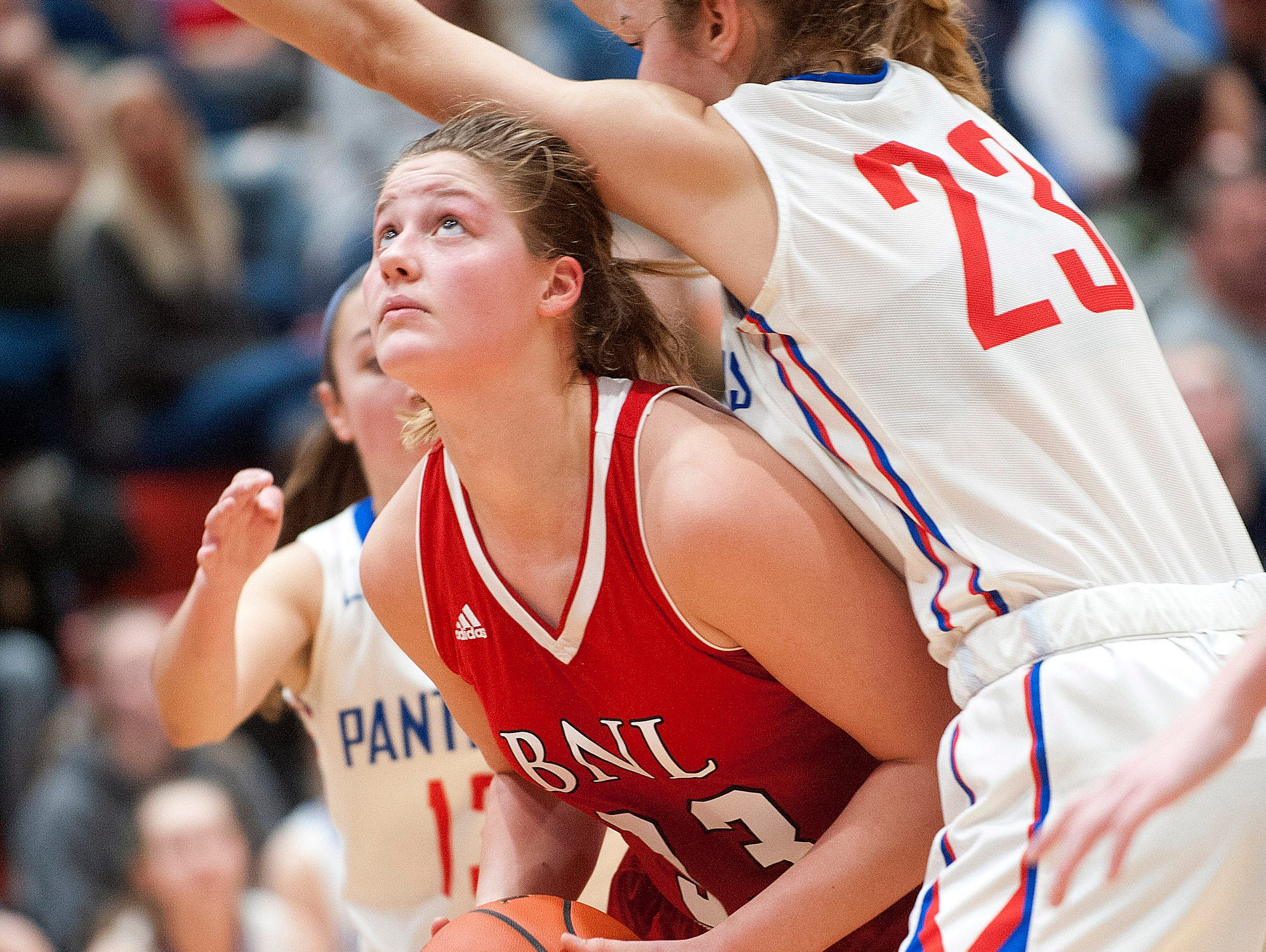Bedford North Lawrence forward Jorie Allen looks to the basket as it is defended by Jennings County center-forward Callie Wilder.04 February 2019