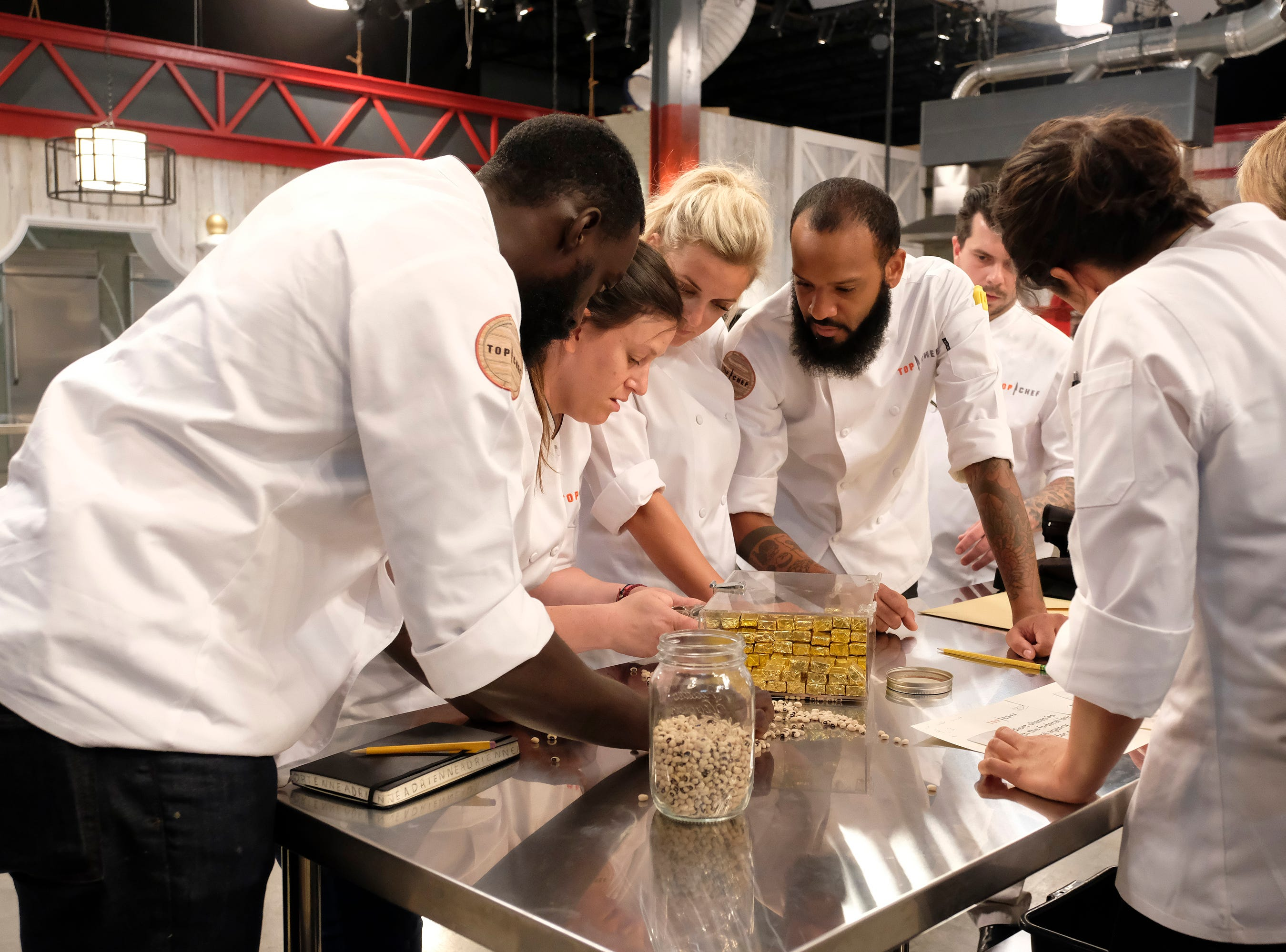 (From left to right): Contestants Eric Adjepong, Sara Bradley, Adrienne Wright, Justin Sutherland and Eddie Konrad on episode 10 of Bravo's 'Top Chef: Kentucky' season.