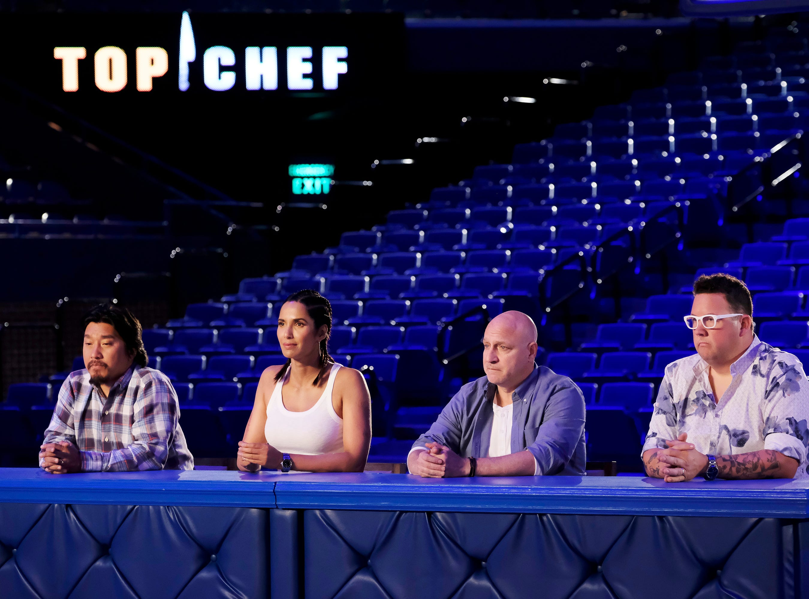 (From left to right): Louisville chef and 'Top Chef' alum Ed Lee, host Padma Lakshmi and judges Tom Colicchio and Graham Elliot on episode 10 of Bravo's 'Top Chef: Kentucky' season.