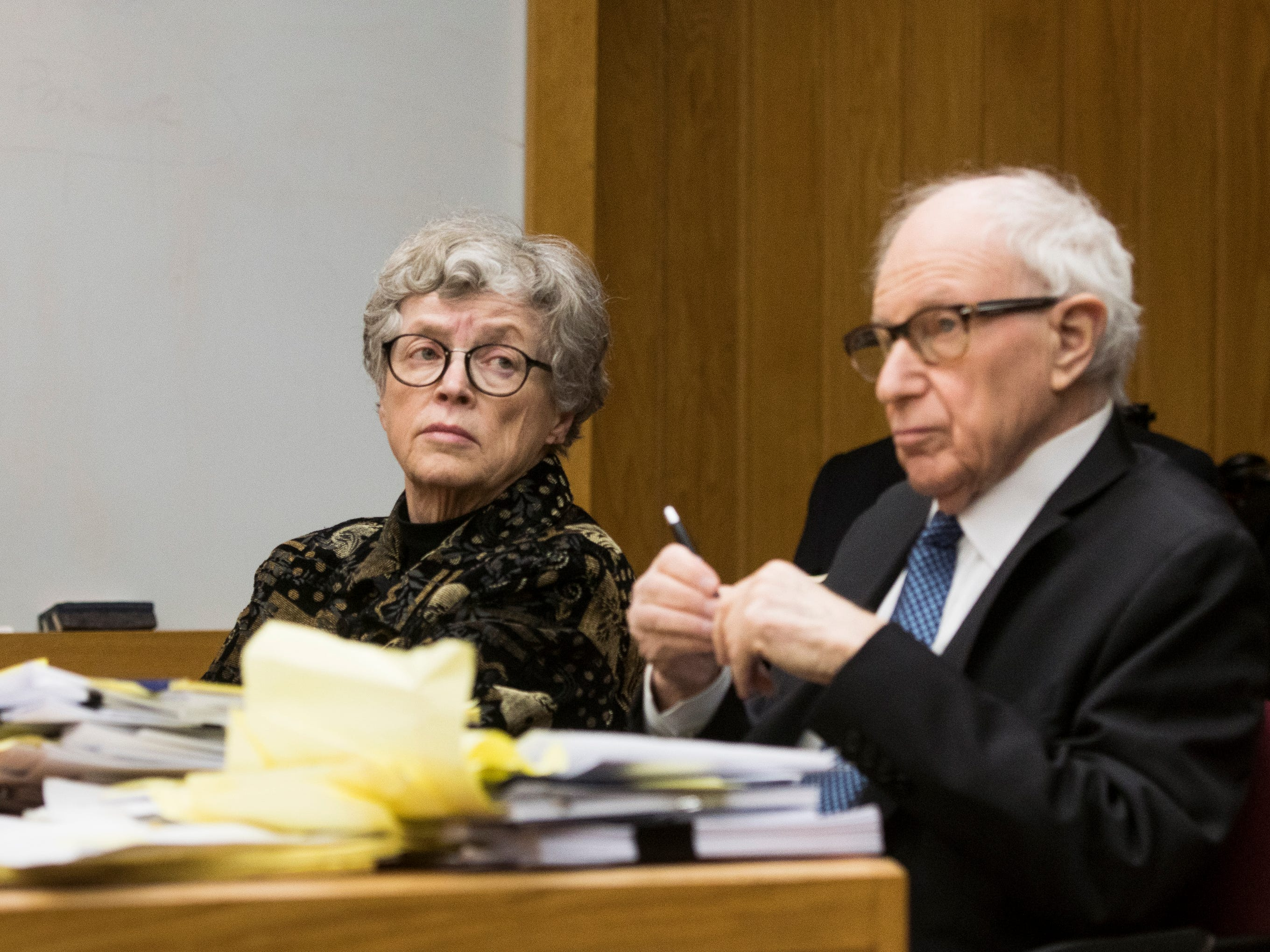 Former MSU President Lou Anna Simon appears in District Judge Julie Reincke's courtroom, Tuesday, Feb. 5, 2019, with her attorney Mayer Morganroth in Charlotte, Michigan for the first day of her preliminary hearing.  Simon faces four charges, including two felonies, because investigators say she lied to police about when she knew about a sexual assault report against former MSU doctor Larry Nassar.  