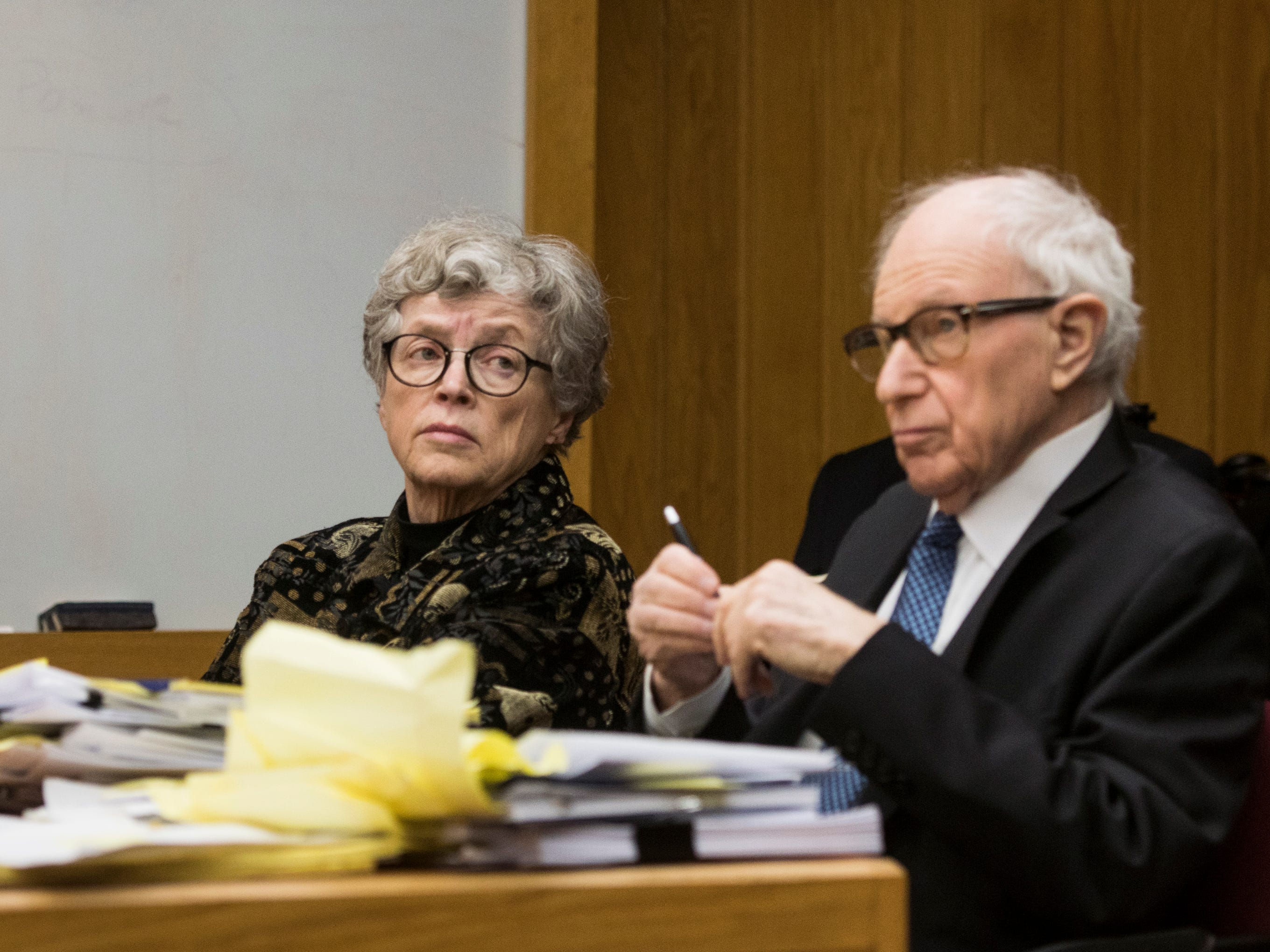 Former MSU President Lou Anna Simon appears with her attorney Mayer Morganroth in District Judge Julie Reincke's courtroom, Tuesday, Feb. 5, 2019, in Charlotte, Michigan for the first day of her preliminary hearing.  Simon faces four charges, including two felonies, because investigators say she lied to police about when she knew about a sexual assault report against former MSU doctor Larry Nassar.  