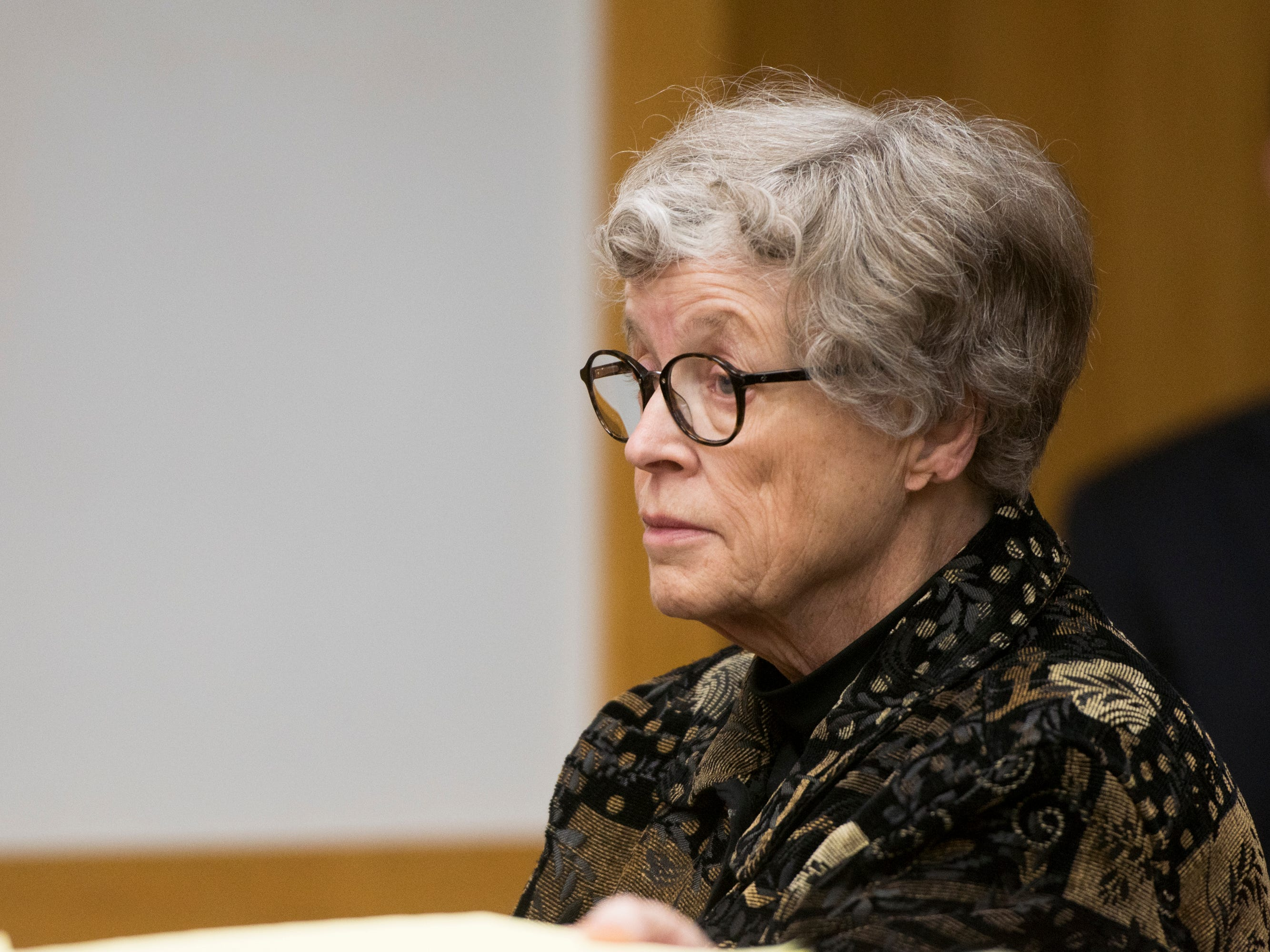 Former MSU President Lou Anna Simon appears in District Judge Julie Reincke's courtroom, Tuesday, Feb. 5, 2019, in Charlotte, Michigan for the first day of her preliminary hearing.  Simon faces four charges, including two felonies, because investigators say she lied to police about when she knew about a sexual assault report against former MSU doctor Larry Nassar.  