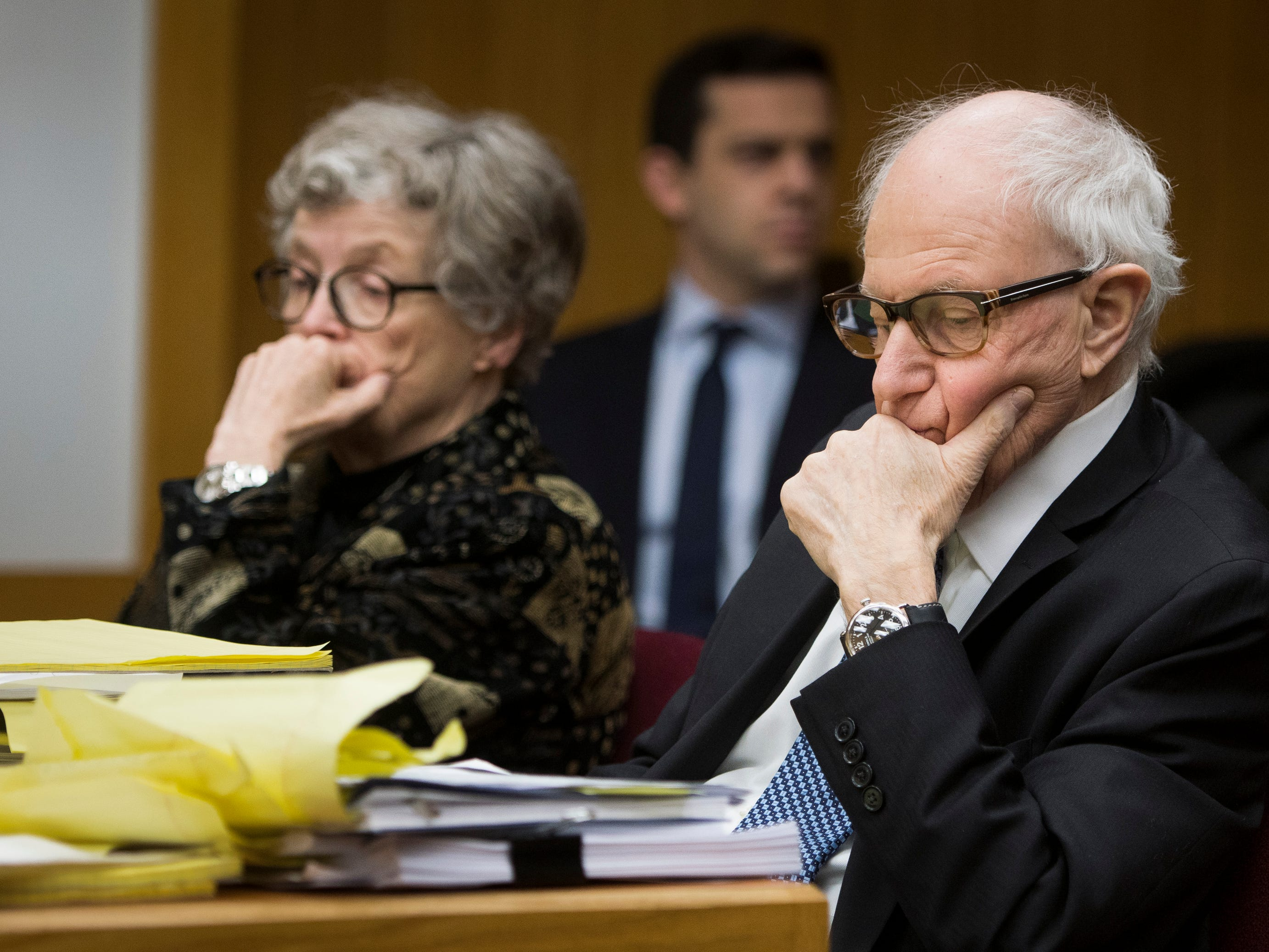 "Former MSU President Lou Anna Simon and her attorney  Mayer Morganroth listen as Amanda Thomashow testifies in District Judge Julie Reincke's courtroom, Tuesday, Feb. 5, 2019, in Charlotte, Michigan.  Thomashow reported Larry Nassar to MSU in 2014.  She was the first to use the term ""army of survivors"" at his sentencing.  [Matthew Dae Smith/USA TODAY NETWORK/Lansing State Journal]"