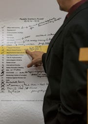 Assistant Attorney General Scott Teter points to what he says is former Michigan State University president Lou Anna Simons' May 19th of 2014 schedule during the preliminary hearing in Judge Julie Reincke's district courtroom in Charlotte, Michigan. Simon faces four charges of lying to police.  [MATTHEW DAE SMITH/Lansing State Journal]