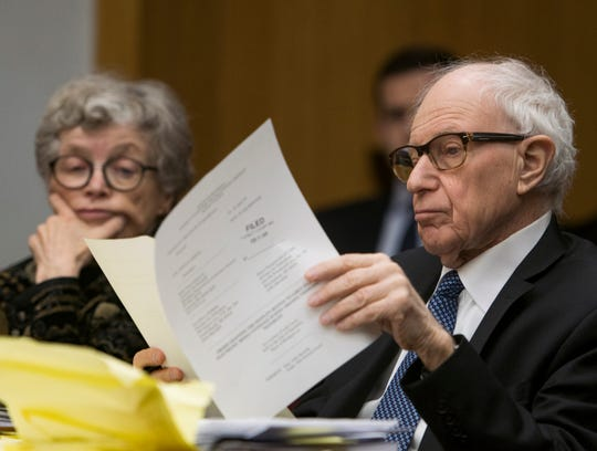Former MSU President Lou Anna Simon appears with her attorney Mayer Morganroth in District Judge Julie Reincke's courtroom, Tuesday, Feb. 5, 2019, in Charlotte, Michigan for the first day of her preliminary hearing.  Simon faces four charges, including two felonies, because investigators say she lied to police about when she knew about a sexual assault report against former MSU doctor Larry Nassar.  [Matthew Dae Smith/USA Today Network/Lansing State Journal]