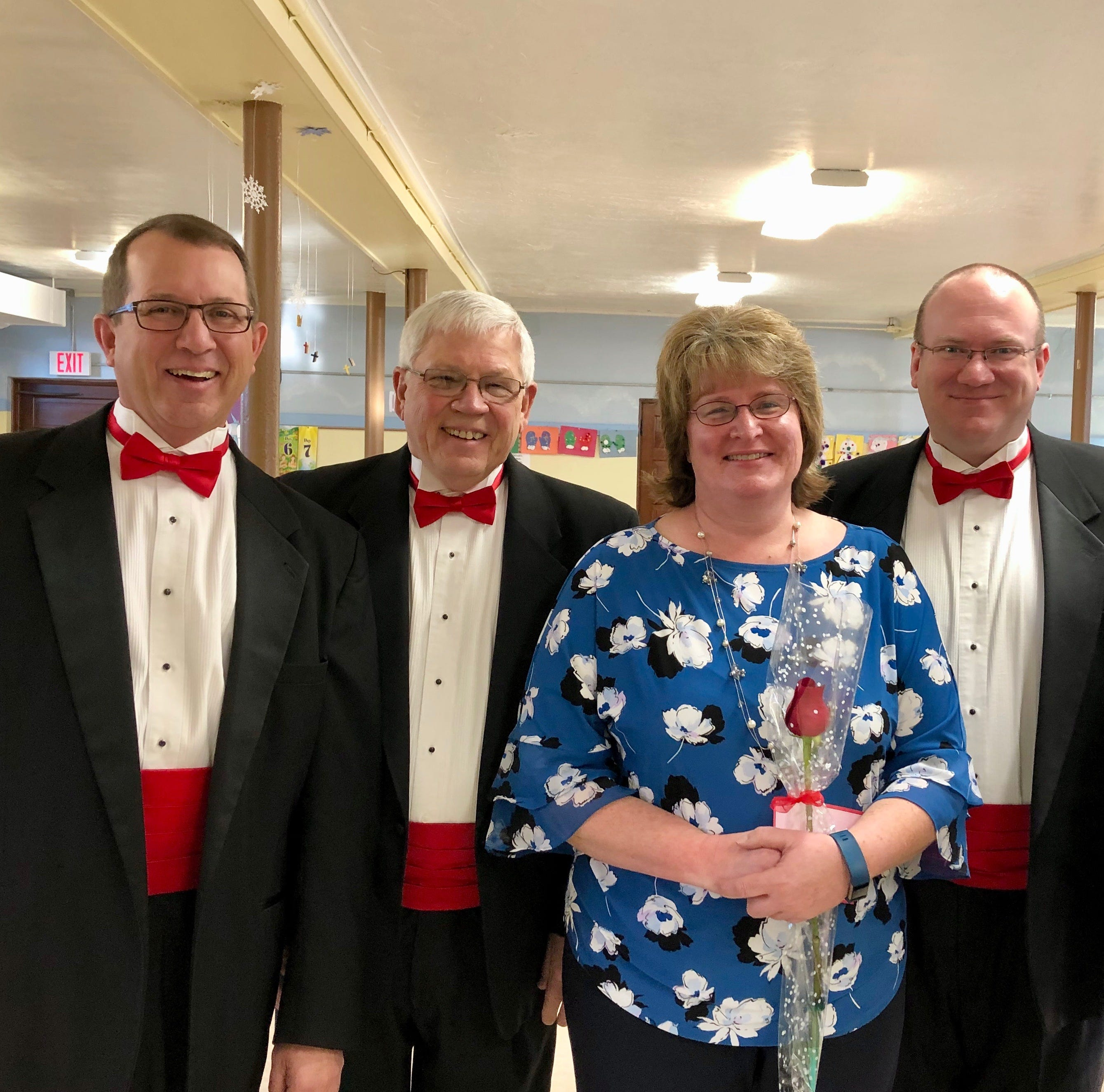 Manitowoc Clipper City Chordsmen offer singing Valentines, complete with a rose