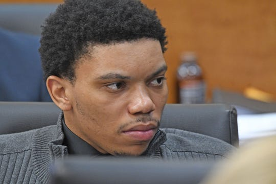 Deshawn Dowdell listens to the responses of prospective jurors during jury selection last week.