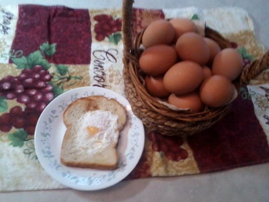 Egg in a nest is a favorite breakfast at the Yoder's home.