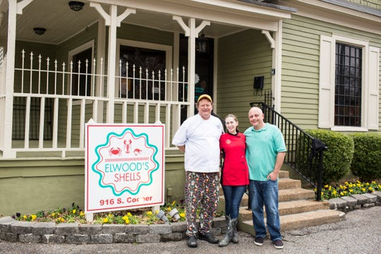 From left, Tim Bednarski, Mandy Edwards and Devin Wood pose for a portrait Feb. 4, 2019, during the grand opening of Elwood's Shells. Elwood's Shells is at 916 S. Cooper St.