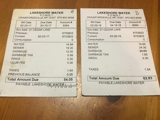 In 2017, Lakeshore residents sent a formal letter to the William L. Johnson Company asking for a report on the expenditure of their club dues, a $5 fee they've each been charged monthly, for decades, pictured on the left. The club fees promptly disappeared from their bills which followed. But a sampling of residents' bills shows sewer charges were raised by $5.