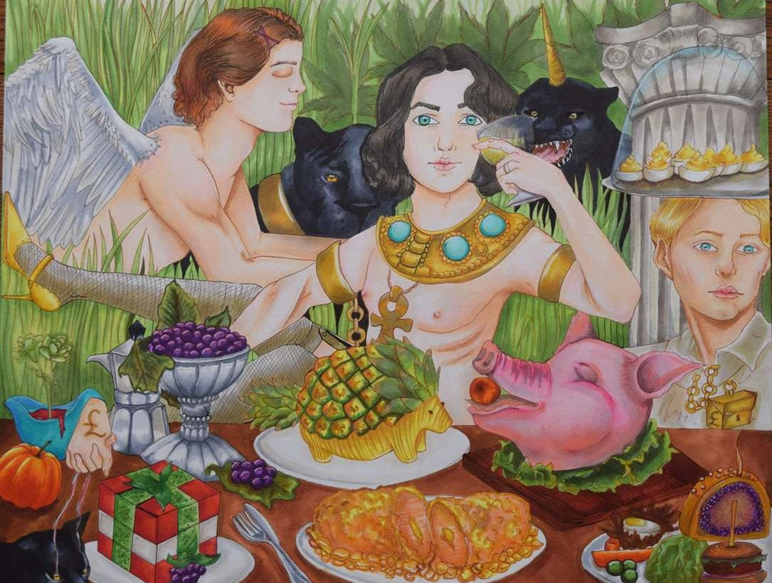"""Feasting With Panthers"" by Greta Berens is part of the 2019 Scholastic Art Awards exhibit at Milwaukee Art Museum."