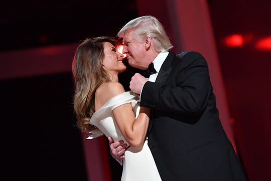 President Donald Trump and first lady Melania Trump dance at the Liberty Ball at the Washington Convention Center during inauguration festivities on Jan. 20, 2017 in Washington, D.C.