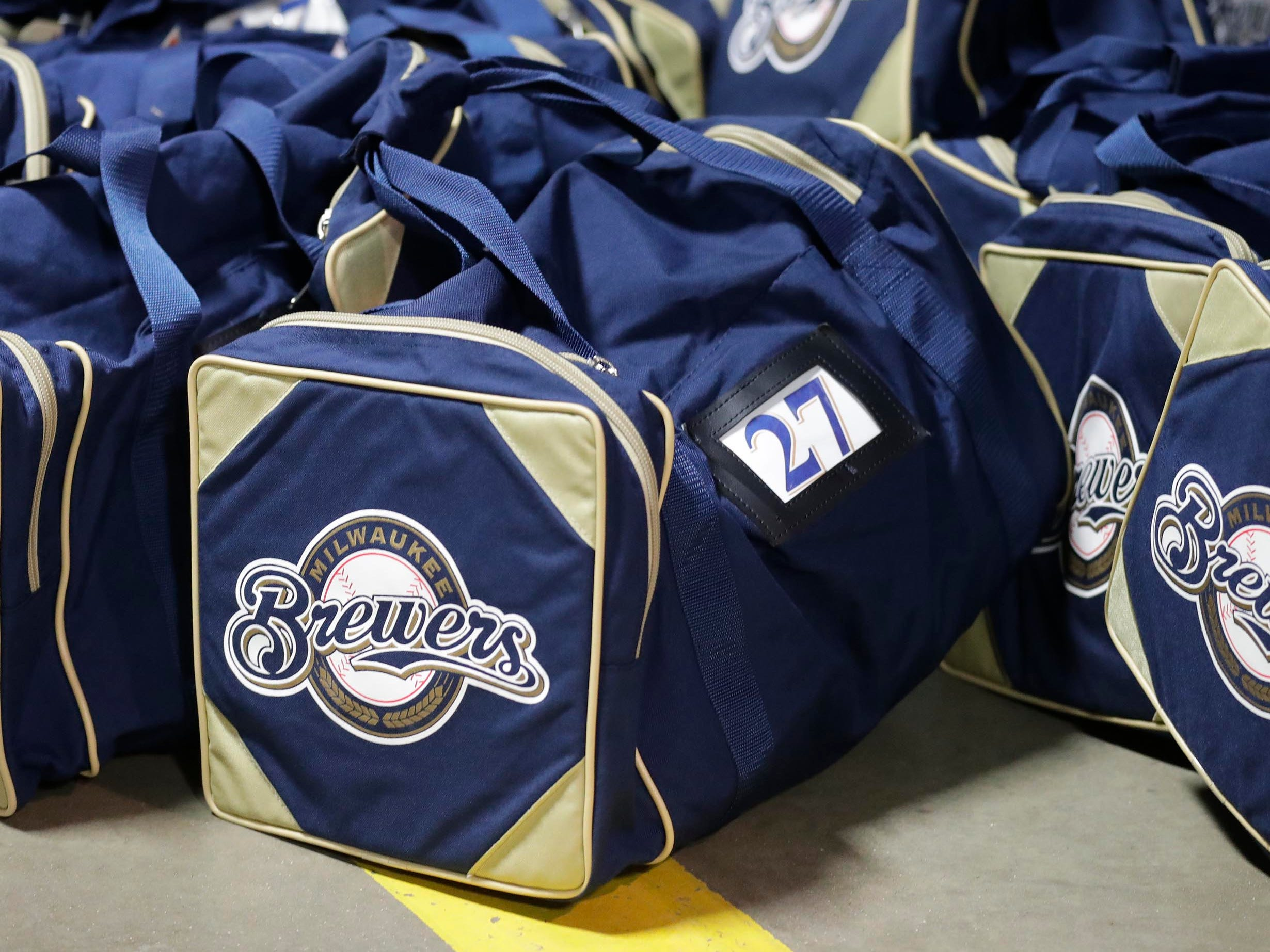 These bags will be loaded on a semi-trailer bound for spring training in Arizona.