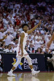 Aleem Ford celebrates one of his three-pointers against Maryland on Friday. A 40.9 percent three-point shooter in 2017-18, Ford has struggled to get going after an early injury this season.