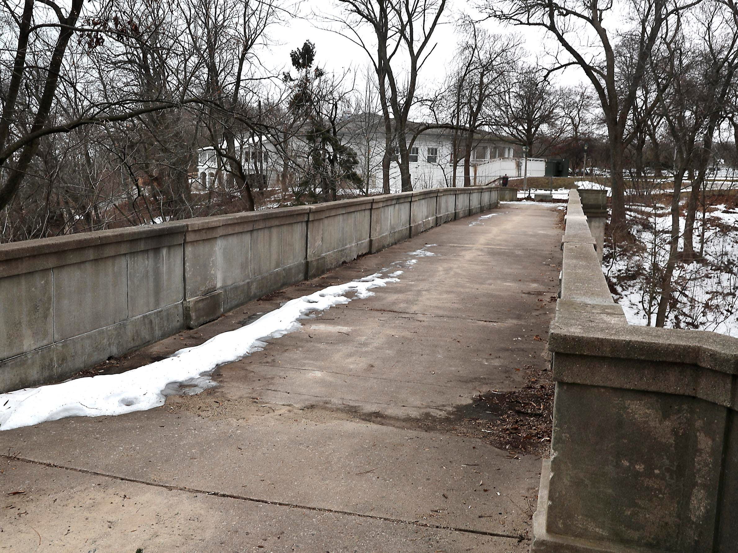 The footbridge in Lake Park over Ravine Road is now off-limits to pedestrians.
