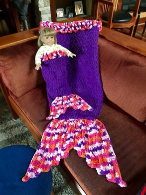 Jonah Larson doesn't just crochet blankets. Here are mermaid tails he created.