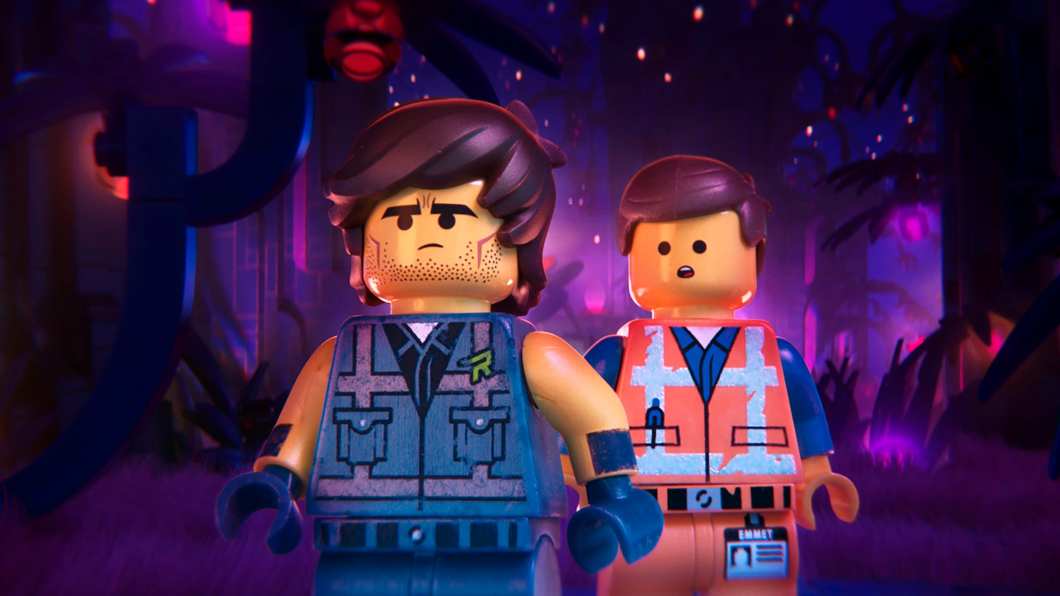 "Action hero Rex Dangervest (left) and laborer semi-hero Emmet (both voiced by Chris Pratt) join forces in ""The Lego Movie 2: The Second Part."""