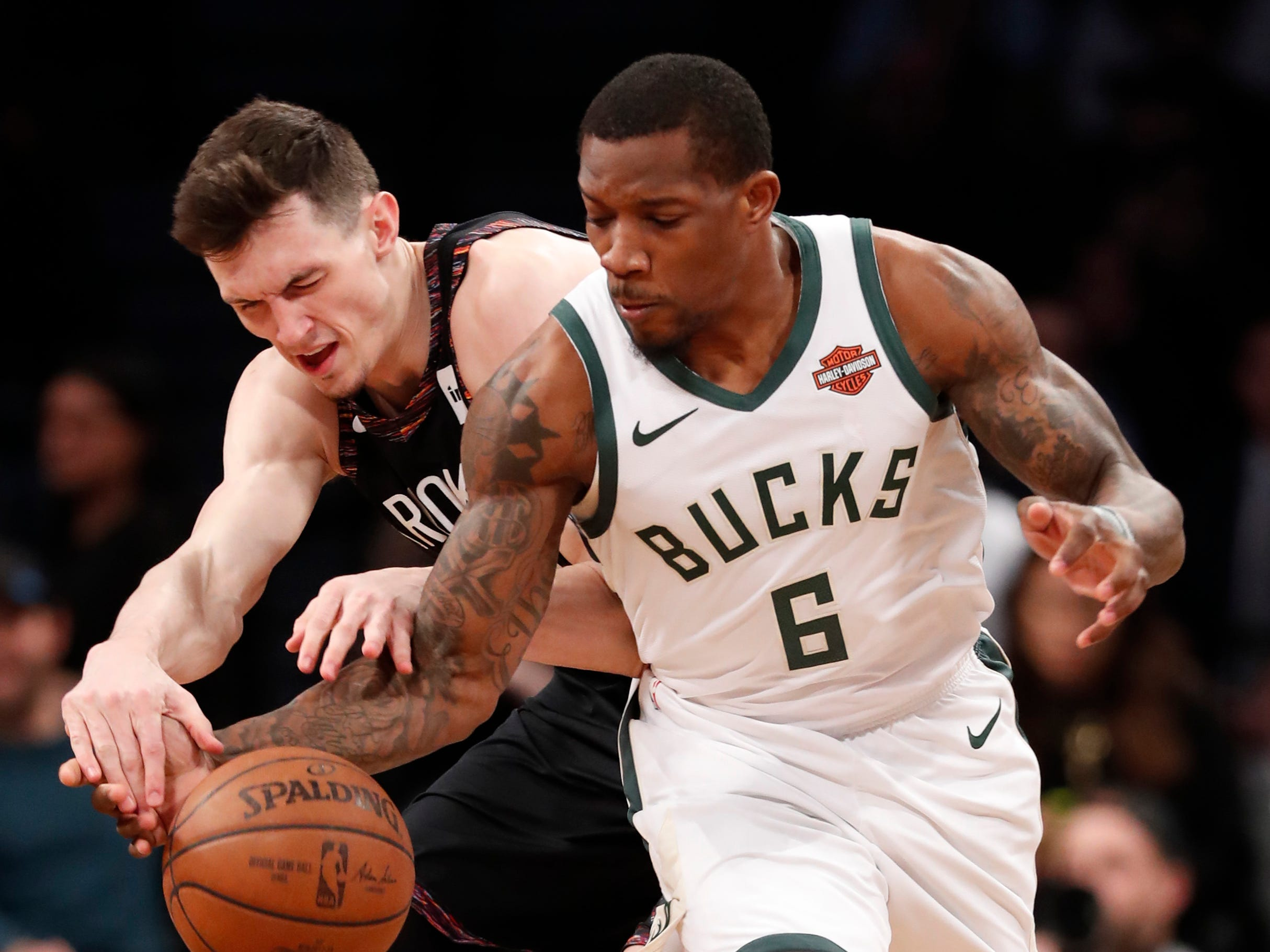 Bucks guard Eric Bledsoe steals the ball from Nets forward Rodions Kurucs during the first half Monday night.