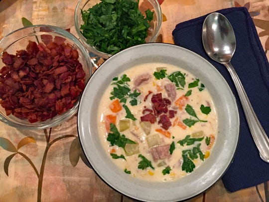 Creamy duck chowder, with white and sweet potatoes, uses already-cooked duck meat, making it easy even for a weeknight meal.