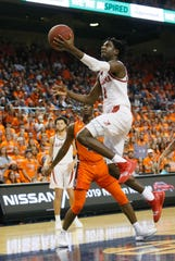 Feb 2, 2019; Auburn, AL, USA; Alabama Crimson Tide guard Kira Lewis (2) takes a shot against the Auburn Tigers during the first half at Auburn Arena. Mandatory Credit: John Reed-USA TODAY Sports