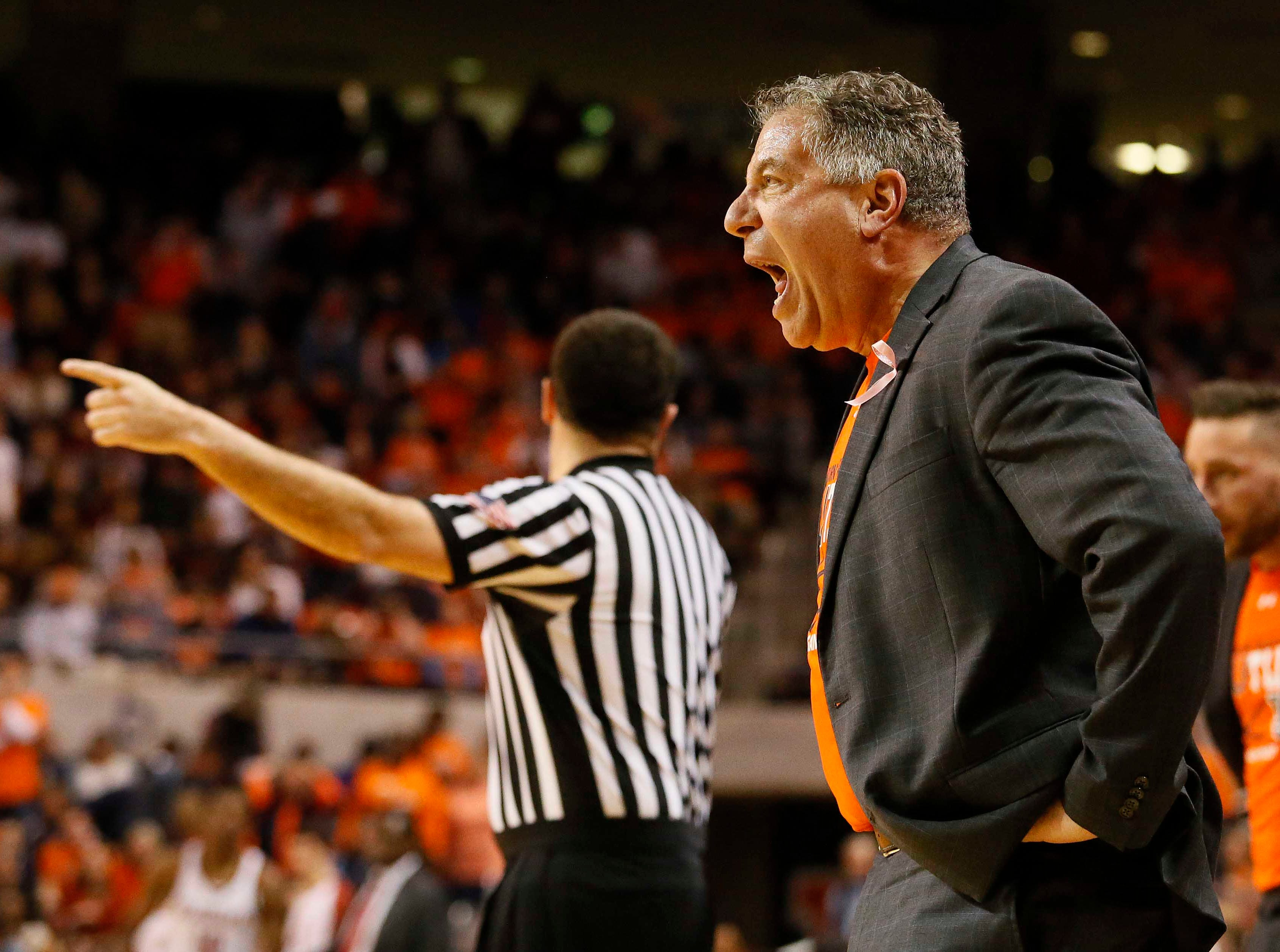 Feb 2, 2019; Auburn, AL, USA; Auburn Tigers head coach Bruce Pearl reacts after a foul was called on the Tigers during first half against the Alabama Crimson Tide at Auburn Arena. Mandatory Credit: John Reed-USA TODAY Sports
