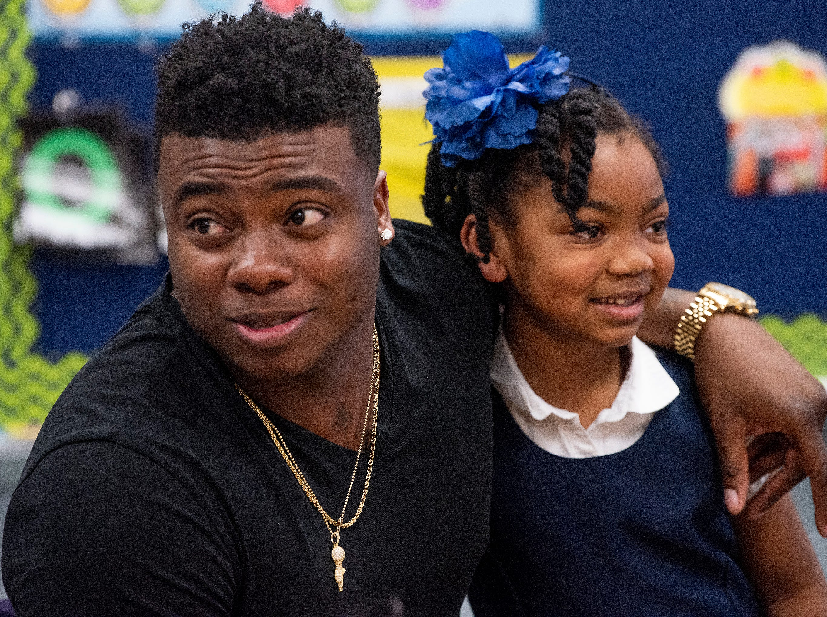 Kirk Jay, who finished third on The Voice, hangs out with fan Mckenzie Ogletree as he visits Forest Avenue School in Montgomery, Ala., on Tuesday February 5, 2019.