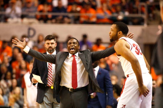 Feb 2, 2019; Auburn, AL, USA; Alabama Crimson Tide head coach Anthony Grant reacts to a call during the first half against the Auburn Tigers at Auburn Arena. Mandatory Credit: John Reed-USA TODAY Sports