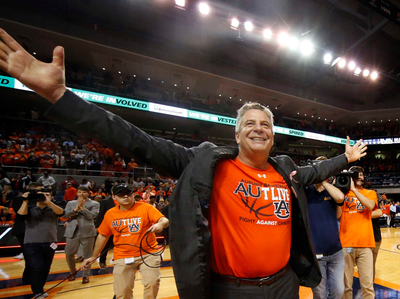 Feb 2, 2019; Auburn, AL, USA; Auburn Tigers head coach Bruce Pearl celebrates after the Tigers beat the Alabama Crimson Tide at Auburn Arena. Mandatory Credit: John Reed-USA TODAY Sports