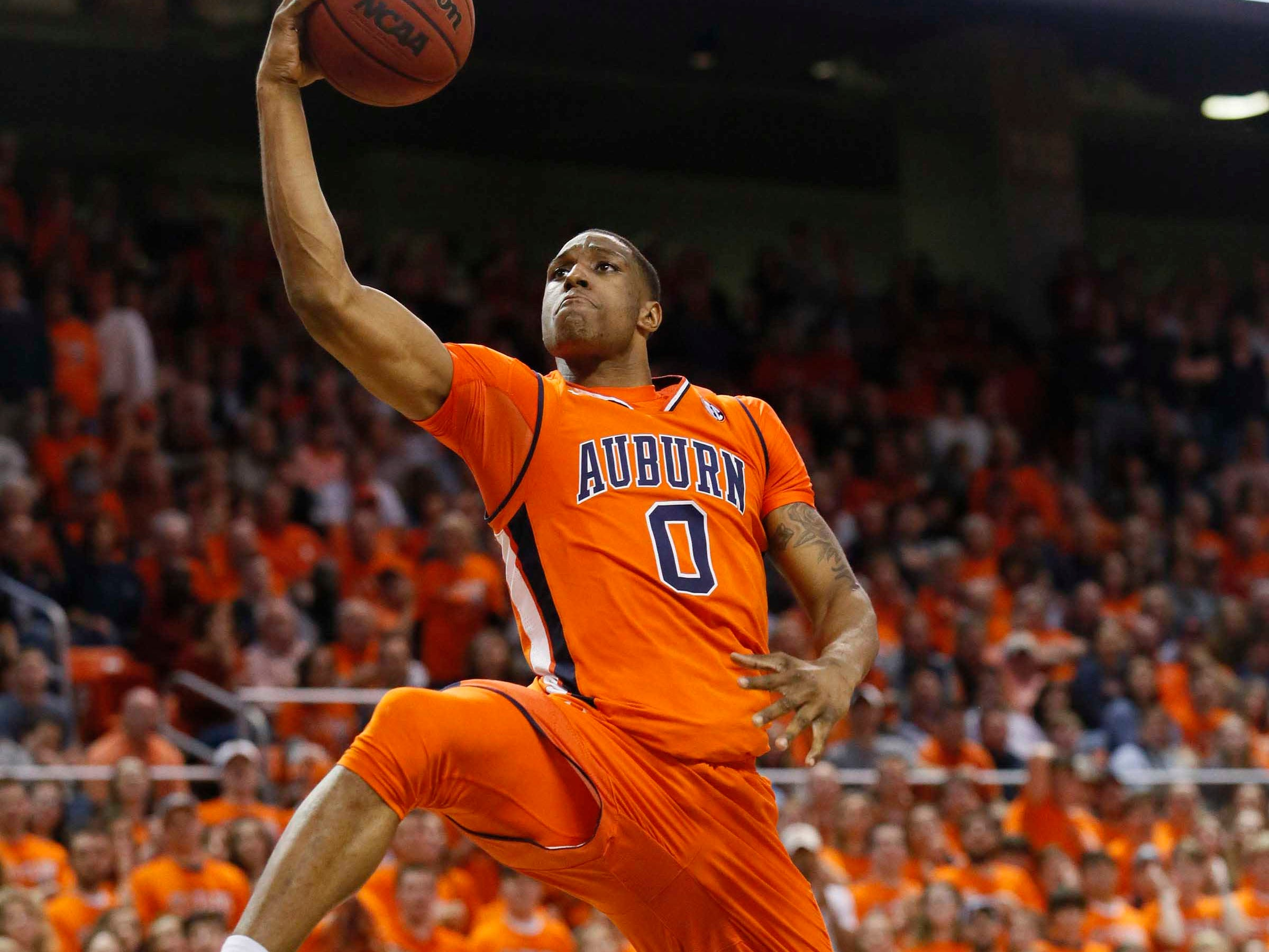 Feb 2, 2019; Auburn, AL, USA; Auburn Tigers forward Howard Spencer (0) takes a shot against the Alabama Crimson Tide during the second half at Auburn Arena. Mandatory Credit: John Reed-USA TODAY Sports