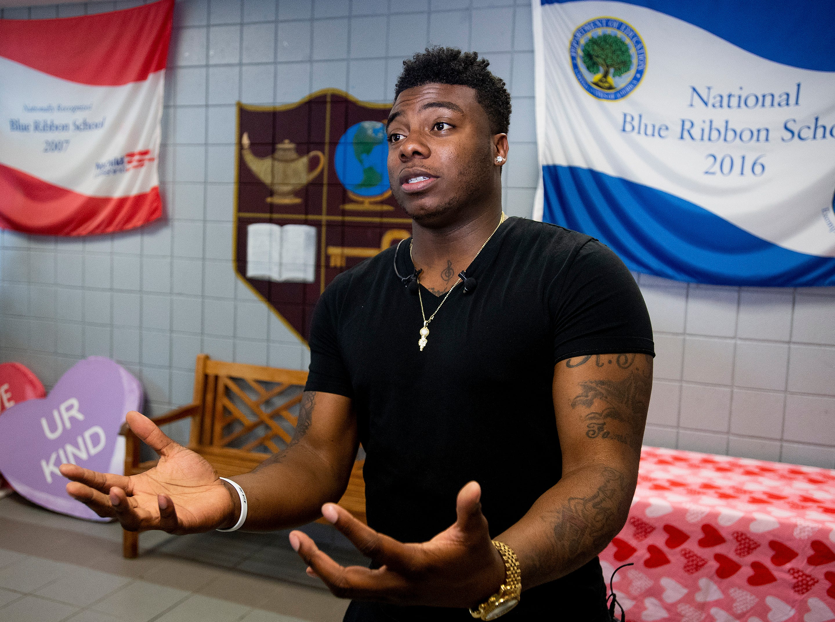 Kirk Jay, who finished third on The Voice, visits Forest Avenue School in Montgomery, Ala., on Tuesday February 5, 2019.