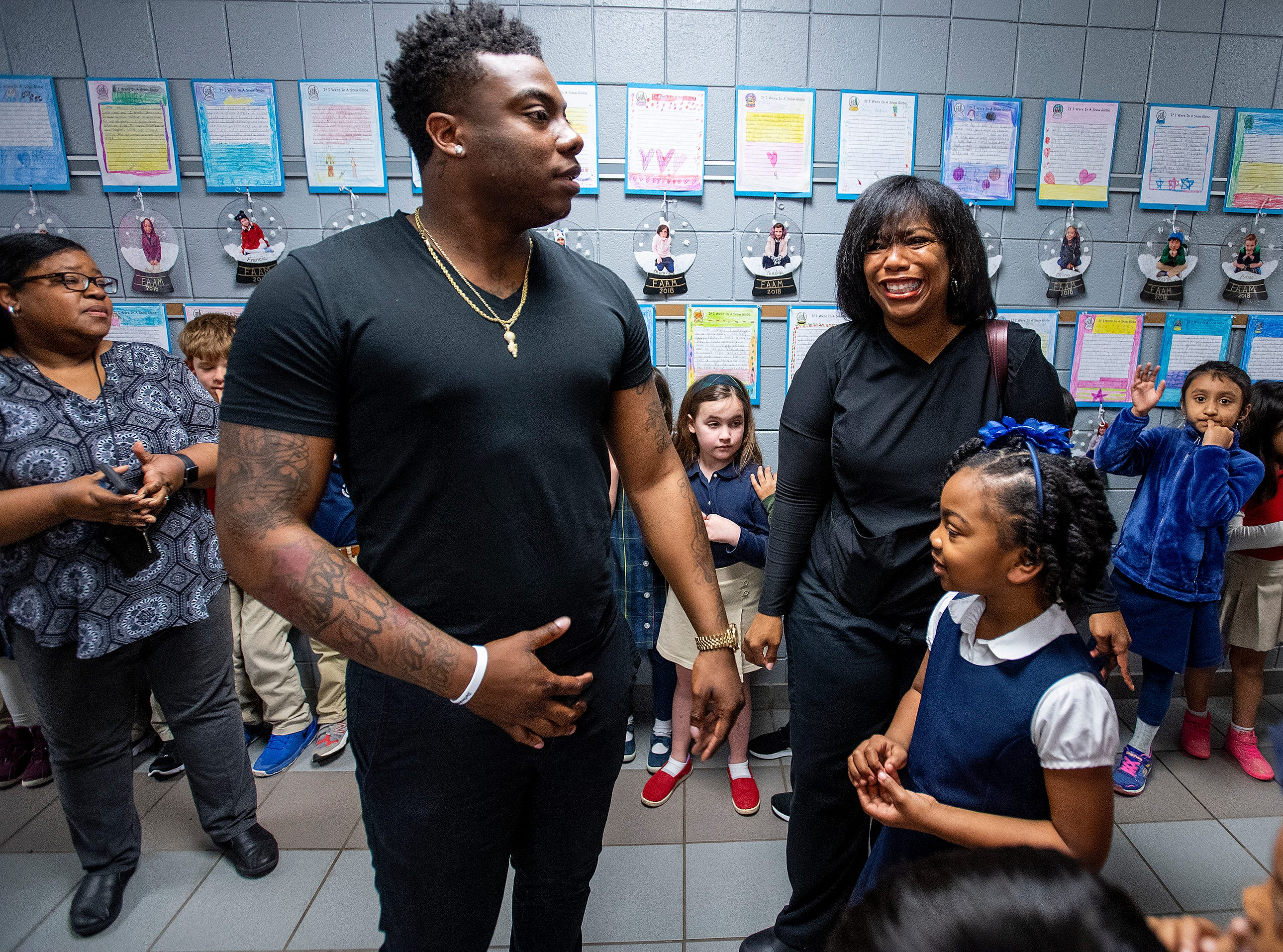 Kirk Jay, who finished third on The Voice, visits pupils at Forest Avenue School in Montgomery, Ala., on Tuesday February 5, 2019.