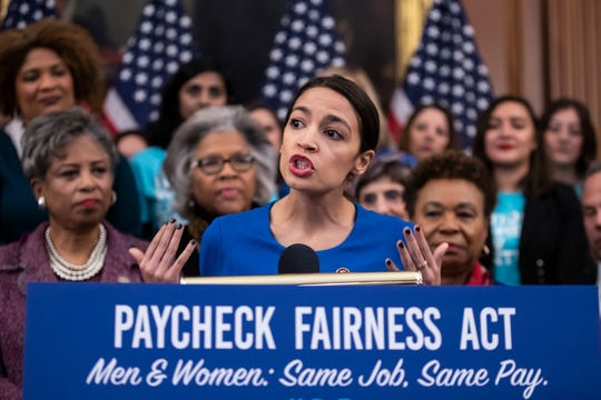 Rep. Alexandria Ocasio-Cortez, D-N.Y., speaks at an event to advocate for the Paycheck Fairness Act on Wednesday, Jan. 30, 2019.