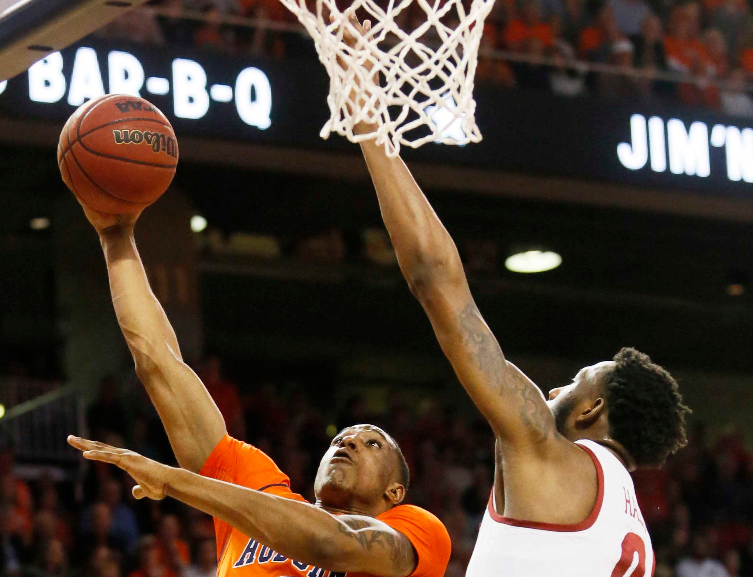 Feb 2, 2019; Auburn, AL, USA; Auburn Tigers forward Horace Spencer (0) takes a shot against Alabama Crimson Tide forward Donta Hall (0) during the second half at Auburn Arena. Mandatory Credit: John Reed-USA TODAY Sports