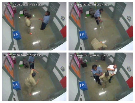 Security footage shows the events of Corrections Officer Oluwatobi Ola assault an inmate at the Nashville jail in 2017. From left, top first: Ola talks to the inmate; Ola blasts the inmate with pepper spray;  the the inmate counterattacks and the inmate is arrested.
