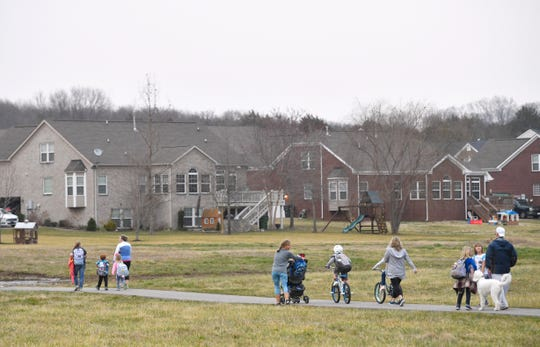 Parents and students are upset with a proposed rezoning that would move 202 students in the Silver Stream Farm subdivision in Nolensville from Mill Creek Elementary to Nolensville Elementary where they won't be able to walk or bike to school Monday, Feb. 4, 2019, in Nolensville, Tenn.