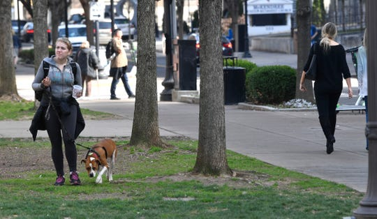 Sara Christopher walks her dog Prince on Feb. 5, 2019, at Church Street Park.