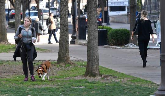 Sara Christopher walks her dog Prince on Feb. 5, 2019, at Church Street Park.