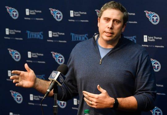 Titans offensive coordinator Arthur Smith Tuesday, Feb. 5, 2019, in Nashville, Tenn.