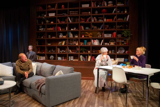 """Kevin Kimball, from left, Kenneth Hardcastle, Kay Francis and Debi Garnett perform scenes from """"Marjorie Prime"""" during a dress rehearsal Monday, Feb. 4, 2019, at the Sugden Community Theater in Naples."""